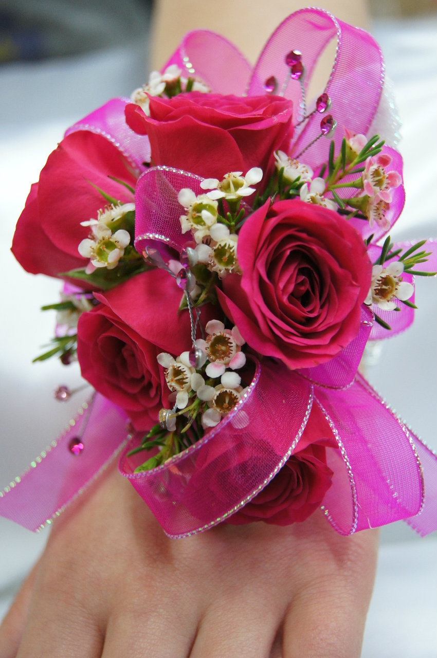 Hot pink 5 rose wrist corsage soderbergs floral and gift mightylinksfo
